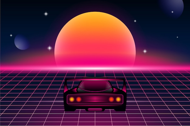 Retro futurism background with sports car and sun