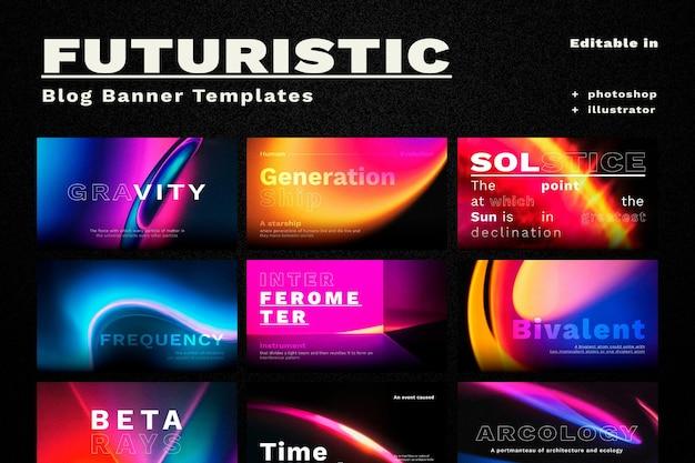 Retro futurism vector template set for blog banner
