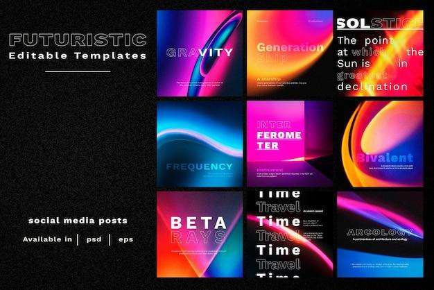 Retro futurism vector template set for social media post