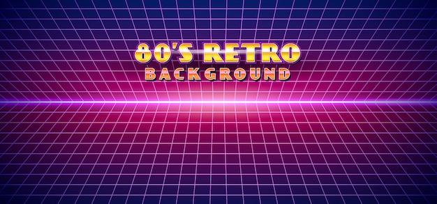 Retro futuristic 1980s style landscape background