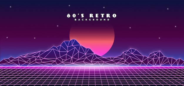 Retro futuristic 1980s style mountain landscape background