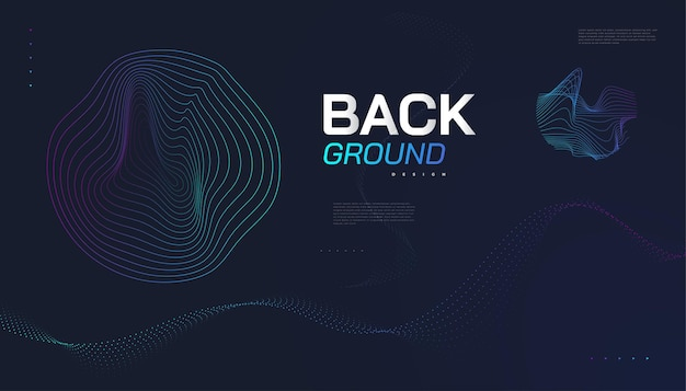 Retro futuristic background with abstract colorful wavy shapes. sci fi vector illustration, can be used for banner, landing page, cover, presentation and more
