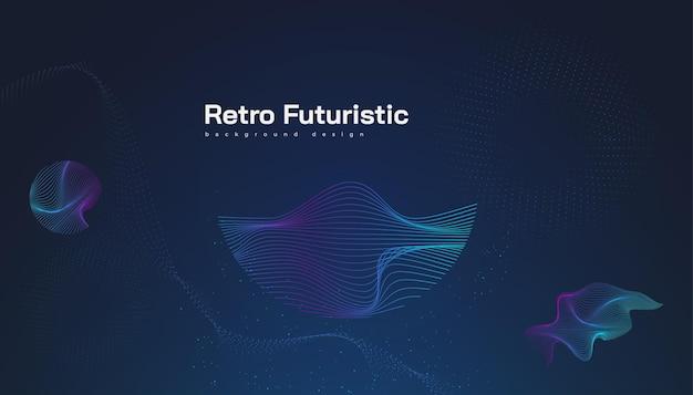 抽象的なカラフルな波状の形でレトロな未来的な背景。サイエンスフィクションのベクトルイラスト、バナー、ランディングページ、表紙、プレゼンテーションなどに使用できます
