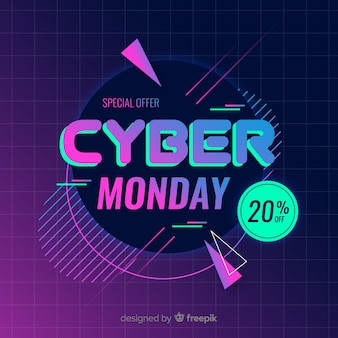 Ретро футуристический кибер понедельник фон