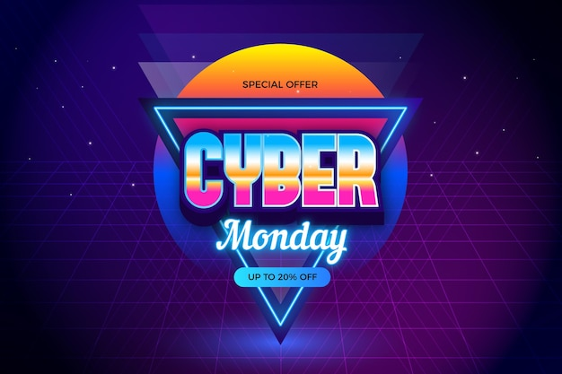 Retro futuristic cyber monday eighties effect