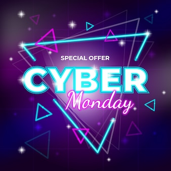 Retro futuristic cyber monday special offer banner