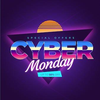 Retro futuristic cyber monday