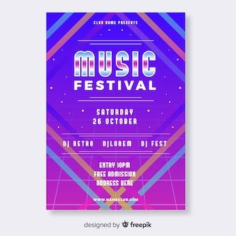 Retro futuristic gradient music poster template