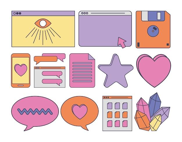 Retro futuristic icons