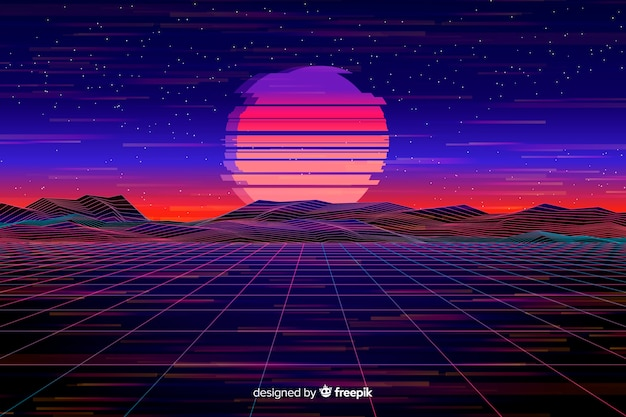 Retro futuristic landscape background flat design