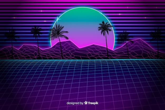 Retro futuristic landscape background with palm trees