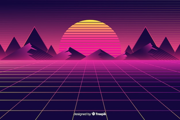 Retro futuristic landscape background with sun