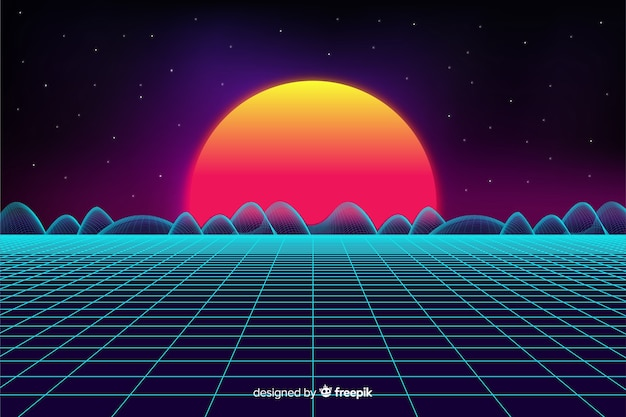 Retro futuristic landscape background