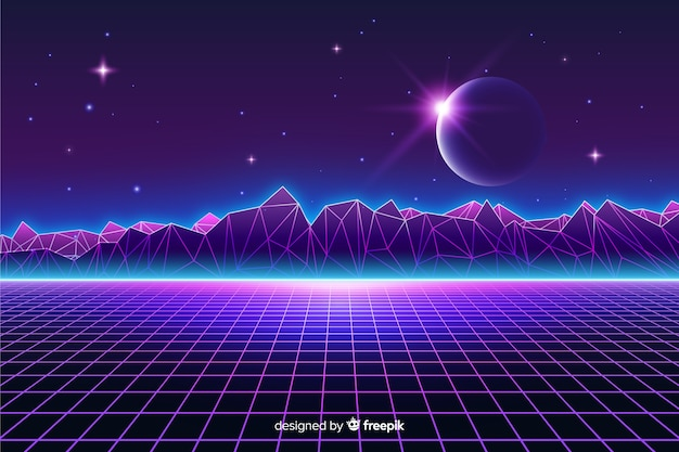 Retro futuristic landscape of universe background