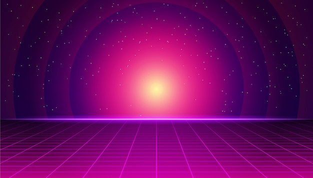 Retro futuristic landscape with neon sunset. synthwave retro background. retrowave computer graphics and sci-fi concept.