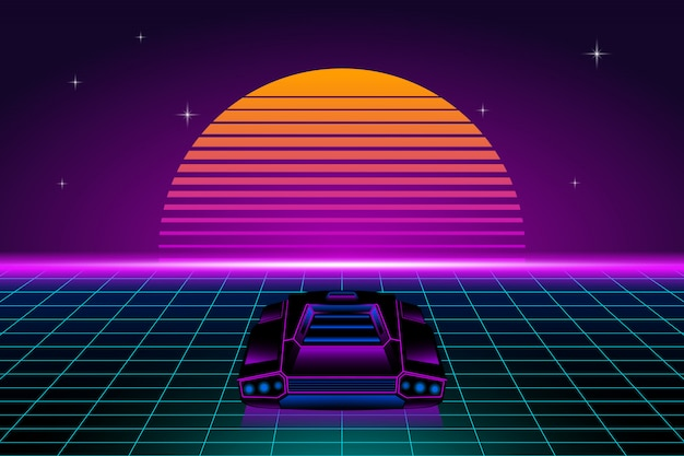 Retro futuristic landscape with retro car and sun