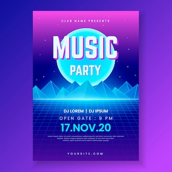 Retro futuristic music flyer template