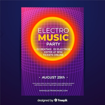 Retro futuristic music poster template