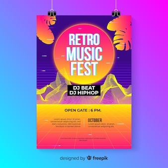 Retro futuristic music poster template