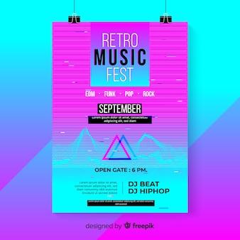 레트로 미래 음악 포스터 템플릿