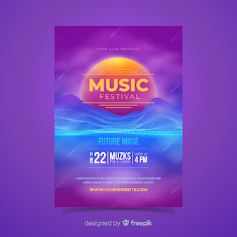 Modello di poster di musica futuristica retrò