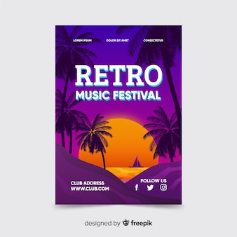 Retro futuristic music poster with sunset template