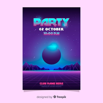 Retro futuristic party poster template