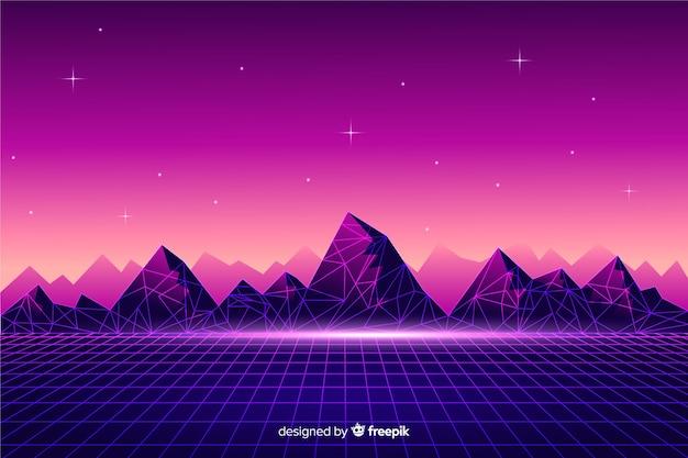 Ретро футуристический научно-фантастический пейзаж фон, фиолетовый цвет