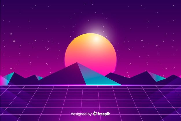 Retro futuristic sci-fi landscape background, purple color