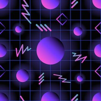 Ретро футуристический бесшовный узор со светящимися градиентными цветными кругами и линиями