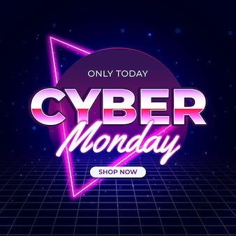 Retro futuristic with grid cyber monday