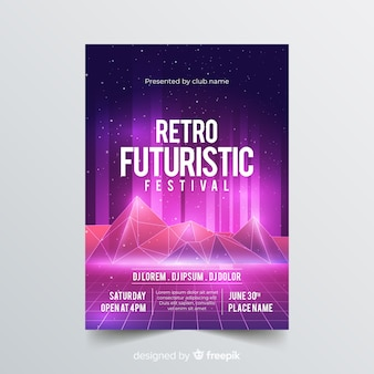 Retro futurstic music poster template