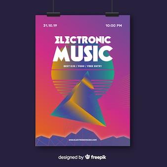 Retro futurstic music poster template