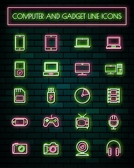 Retro gadget thin neon glowing line icons set.