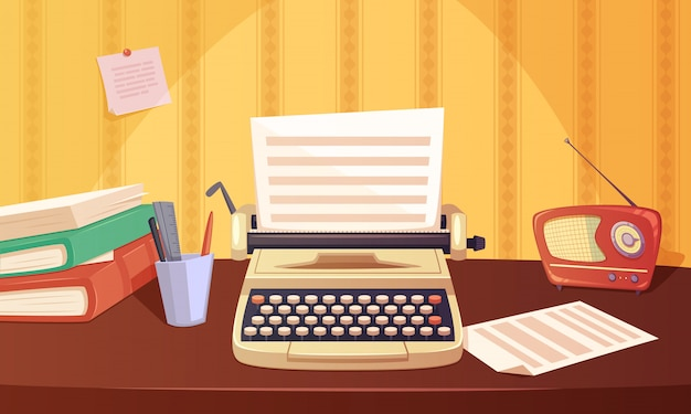 Retro gadgets cartoon background with typewriter radio books stationery