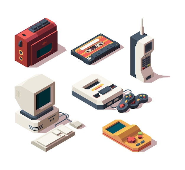 Retro gadgets. computer camera telephone vhs player game console portable old devices vector isometric. vintage game computer, old technology device player illustration