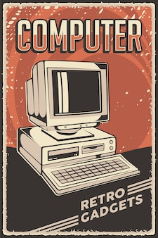 Retro gadgets personal computer poster