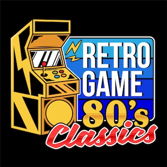 Retro game classics old game machine for play retro arcade video game for gamers and geek culture people vintage gamepad. retro  print design illustration for  t-shirt apparel