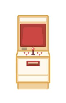 레트로 게임 기계 평면 벡터 일러스트 레이 션. 흰색 배경에 고립 된 단추와 빈티지 아케이드 캐비닛. 놀이기구. 고전적인 전자 게임. 올드 스쿨 엔터테인먼트 장치. 프리미엄 벡터