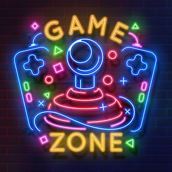 Retro game neon sign. video games night light symbol, glowing gamer poster.
