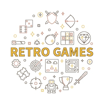 Retro games vector round illustration in outline style