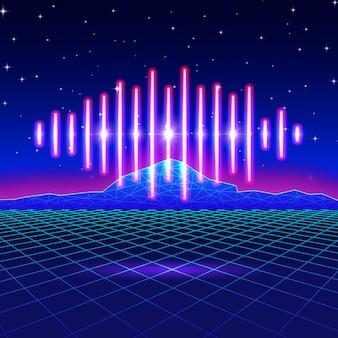 Ретро игровой неоновый фон с блестящей музыкальной волной