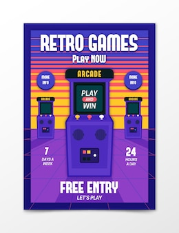 Retro gaming poster template illustrated