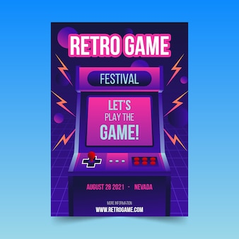 Retro gaming poster template with illustrations