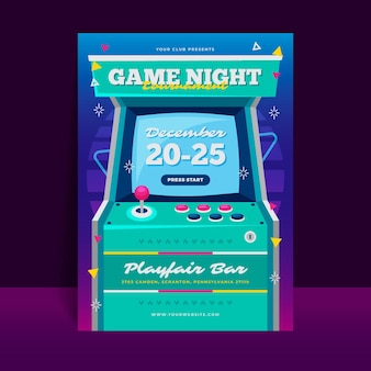 Retro gaming poster template