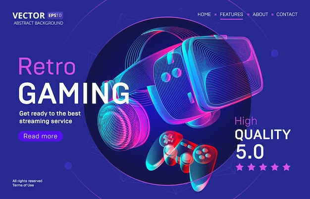 Retro gaming streaming service landing page template with vr helmet and gamepad. headset and joystick in 3d neon line art style