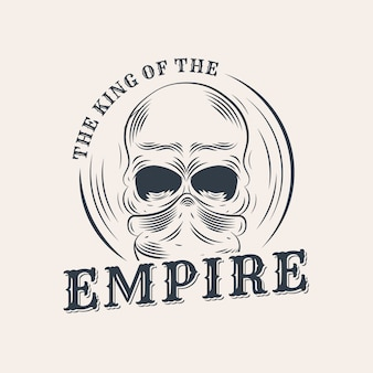 Retro gangster logo with skull