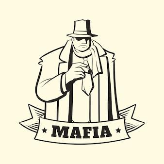 Ретро гангстерский мафиозный персонаж