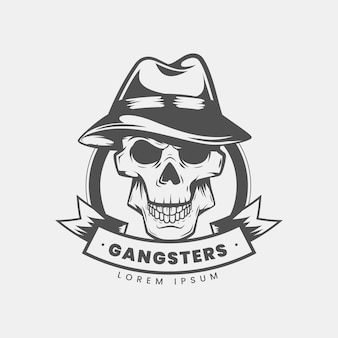 Retro gangster mafia logo with skull