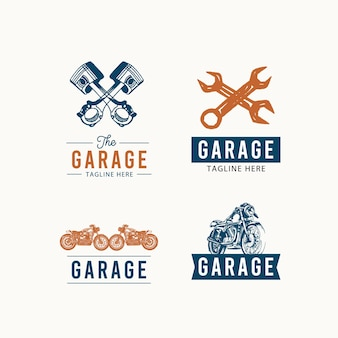 レトロなガレージのロゴのデザインコンセプト